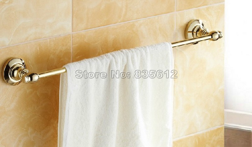 Gold Color Brass Wall Mounted Bathroom Single Towel Rail Bar Wba103<br>