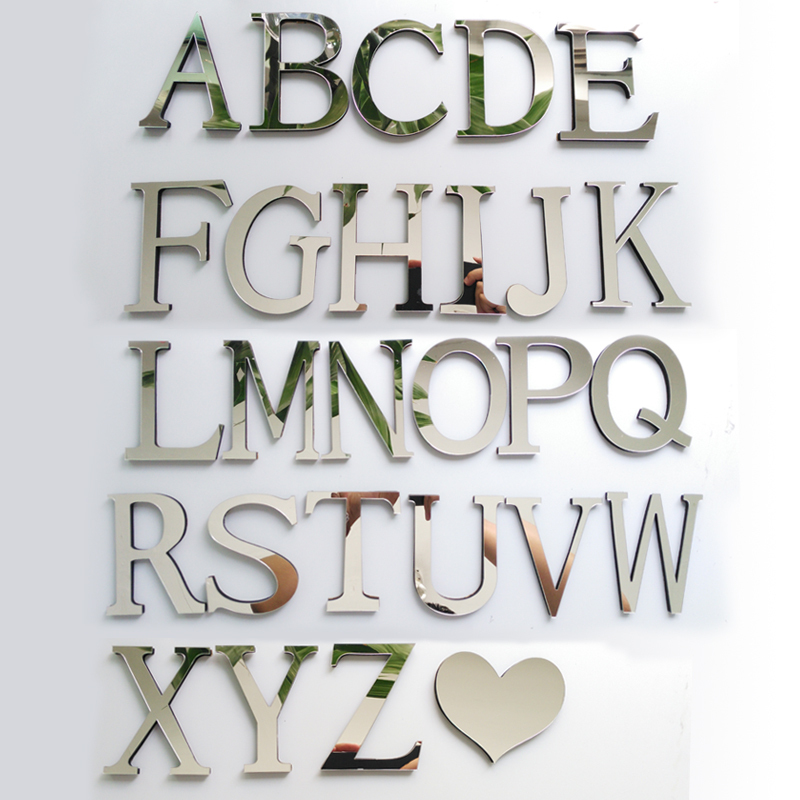 New Acrylic Mirror 3D DIY wall stickers stickers English letters home decoration  creative personality Special(China)