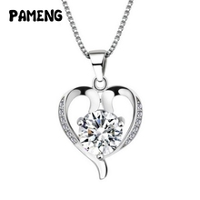Pameng Silver Plated Water-wave Chain Heart-shaped White Purple Rhinestone Pendant Necklace for women girlfriend gifts