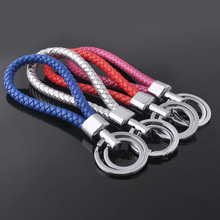 LNRRABC Sale  Women Men Keychain Candy Color PU Leather Woven Rope Bag Pendant Alloy Car Key Chain Ring Holder Key Rings Gifts