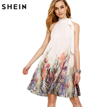 SHEIN Casual Dresses for Woman New Summer Style Womens Boho Dress Beige Print Bow High Neck Sleeveless Straight Dress(China)