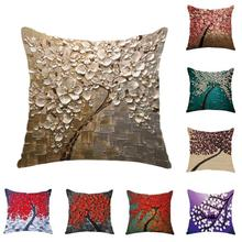 Nordic 1PC Flower Tree Printed Cotton Linen Throw Pillow Cushion Cover Seat Car Home Sofa Bed Decorative Pillowcase 3(China)