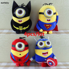 Discount Avengers Plush Toys 4Pcs/Lot Captain America Superman Spider-Man Batman 22CM 3D Eyes Plush Toys Super Hero Brinquedos
