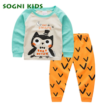 Baby Boys Girls Clothing Set Children's Pajamas Set Nightwear for 2017 Brand Cartoon Owl Clothes Toddler Long Sleeve Sleepwears(China)