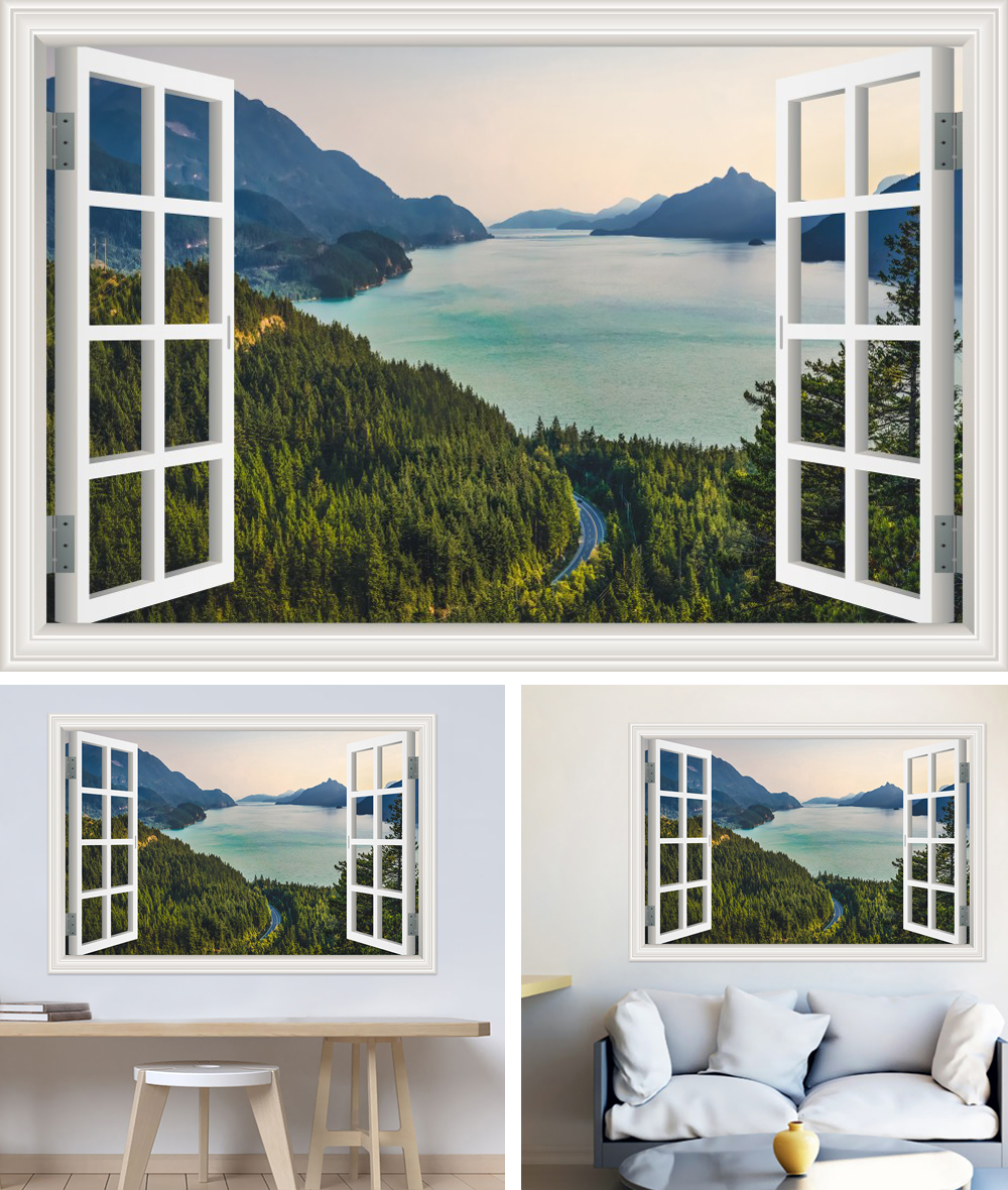 HTB1D3Tch0zJ8KJjSspkq6zF7VXaA - Modern 3D Large Decal Landscape Wall Sticker Snow Mountain Lake Nature Window Frame View For Living Room
