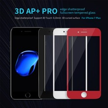 NILLKIN 3D AP+ Pro edge shatterproof fullscreen tempered glass for iPhone 7/iphone 7 plus only 0.23mm thin for iPhone 7 4.7/5.5""