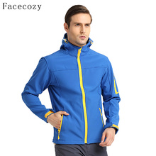 Facecozy Men's Autumn Outdoor Hiking Softshell Jacket Quick Dry Breathable Hooded Windproof Fishing Coat