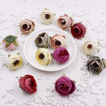 5 PCS 3 CM Artificial Silk Rose Bud Tea Flowers Head For Wedding Decoration DIY Gift Wreath Box Scrapbooking Handicraft Fake Flo(China)