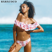 RXRXCOCO 2017 Brazilian Biquini Push Up Swimwear Women Print Swimsuit Bikini Set Bandage Beachwear Biquini Feminino Praia 2017(China)