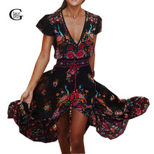 Lacegirl 2017 Vestido Long Flower Dress Retro Bohemian Maxi Dress Sexy Ethnic V-neck Floral Print Beach Dresses Boho Hippie Robe