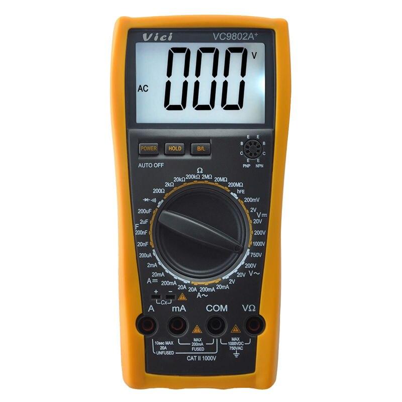 VICI VC9802A+ Digital Multimeter DMM Voltmeter Ohm Capacitance Current Meter 1999 counts<br><br>Aliexpress