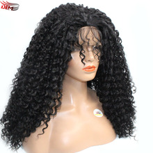 Long Kinky Curly Soft Hair Synthetic Lace Front Wigs Glueless Heat Resistant Jet Black Color Afro Curl Wig with Natural Babyhair