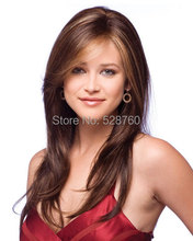 Classic Silky  Long straight hair wig brown mixed color  wigs Free shipping