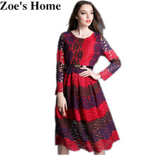 Zoe's Home High Quality 2017 Runway Designer Women's Lace Dress Temperament Slim Big Swing Colors Patchwork Lace Dresses