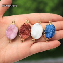Wholesale 4 Color Natural Oval Shape 2 Circle Drusy Crystal Geode Stone Pendant Women DIY Necklaces For Jewelry Making 18*25 mm(China)