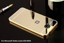 For Microsoft Nokia Lumia 650 N650 5.0 inch Top Quality Plating Metal Mirror Aluminum Bumper PC+Acrylic 2 in 1 Case Cover Capa