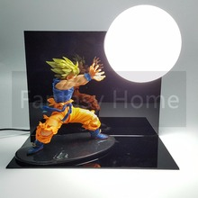 Dragon Ball Z Action Figure Son Gokou Kamehameha DIY Display Toy Dragonball Goku Super Saiyan Figuras DBZ Figure +Bulb+Base