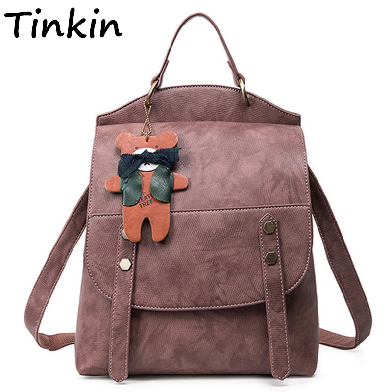 Tinkin Women Vintage All-Purpose Backpack Female Causal Multifunctional Rucksack Lady Preppy Style Daily Shopping Shoulder Bags<br>