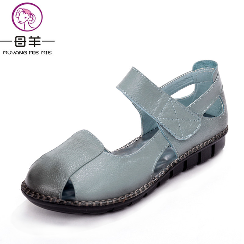 MUYANG MIE MIE summer women shoes woman genuine leather sandals female handmade flat sandals new fashion casual women sandals<br>