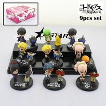 EMS Shipping 12 sets Mini Code Geass Anime Character Solid 9pcs Boxed PVC Action Figure Collection Model Toy Gift (9pcs per set)