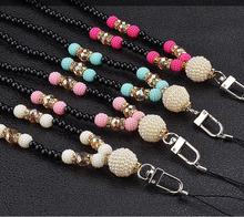 Fashion Phone Lanyard neck strap for mobile phone chain phone pendant charm gift luxury crystal(China)