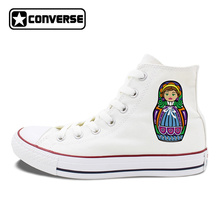 White Skateboarding Shoes Original Design Russia Colorful Matryoshka Doll Unisex Converse Chuck Taylor Men Women Canvas Sneakers(China)