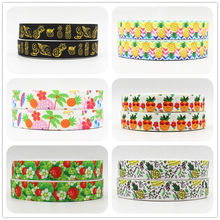 Q&N ribbon 16mm 22mm 25mm 38mm 50mm 75mm fruit pineapple Strawberry printed grosgrain ribbon 50yards/roll for headband hair tie(China)