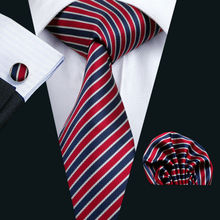 LS-512 2016 Men`s Tie 100% Silk Striped Jacquard Woven Classic Gravata Tie+Hanky+Cufflinks Set For Formal Wedding Business Party(China)