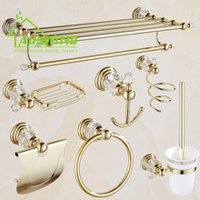 Solid Brass Bathroom Hardware Sets Gold Polished Bathroom Accessories Wall Mounted Crystal Bathroom Products