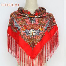 New Style Brand Florals Scarf Russian Ethnic Style Print Flower Pattern Tassel Winter&Autumn Warm Square Scarf Shawl