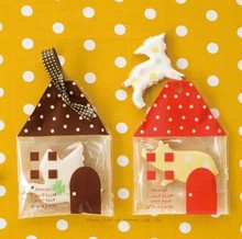 Free shipping little red brown house shaped lovely cookie biscuits bags dessert package decoration children favors(China)