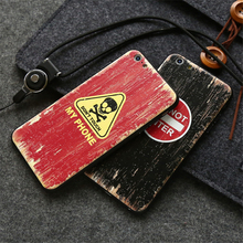 CITYCASE Phone Case For iPhone 6 s Accessories Wood Style 3D EMBOSSED Capinha For iPhone 6 s 6Plus Cases Cover With Hanging Rope
