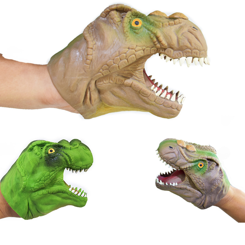 Latex Hand Puppet Dinosour Educational Toy 11*14CM