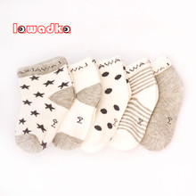 Lawadka 5Pairs/lot Striped Baby Socks Newborn Cotton Boys Girls Sock Cute Toddler Socks Size SandM