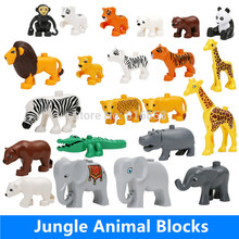 Big Building Blocks Animals Crocodile Hippo Giraffe Elephant Leapard Monkey Brown Bear Zebra Panda Tiger duploed Compatible Toys(China)