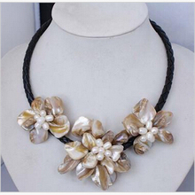 "Fashion Manual Handcraft Shell Flower with freshwater pearl necklace 18""AAA style Fine Noble real Natural free shipping"