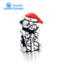 925 Sterling Silver Diy Christmas Teddy Bear Red Enamel Charm Bead Fit Bracelet Original Jewelry GW Fashion Jewelry D206H50
