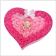 Beauty Rose Soap Flower Loving Heart 92PCS/BOX Whitening Soap Handmade Wedding Valentine's Day Christmas Gift Bath Accessories(China)