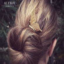 New fashion hairwear gold color butterfly hairpin hair combs hair sticks gift for women girl H381(China)