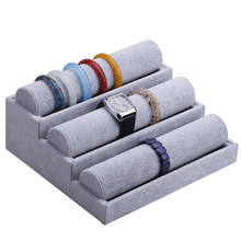 1pcs Three layer cascade bracelet watch ice velvet display tray fashion jewelry display stand(China)