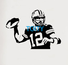 Aaron Rodgers Wall Art Giant Sticker Room Mural Graphic American Footballer Vinyl Decal Sport Decor Poster S M L(China)