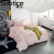 Solstice Home Textile 100% Cotton Bedclothes Pink Pattern Printing 4pcs Bedding Sets Duvet Cover Sets Pillowcase Queen King Size