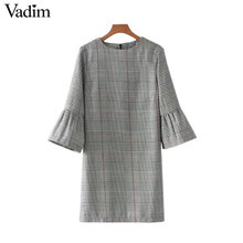 Vadim women vintage flare sleeve houndstooth dress basic plaid bell sleeve brand autumn mini dresses vestidos mujer QZ3247(China)