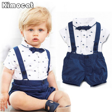 Children's leisure clothing sets kids baby boy suit gentleman clothesT shirt +pants+Bow for weddings formal clothing(China)