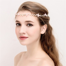 LIN STUDIO Fashion Handmade Pink Rhinestone Bridal Wedding Hair Piece Floral Wedding Hair Accessories D268