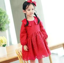 Girl Christmas Dress 2017 New Girl Holiday Party Dresses Fashion High-grade White Red Girls Lace Dress Cute Childrens Clothes