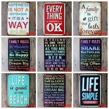 Wall Stickers 20*30CM Poster Home Decor WAY OK FAMILY Letter Wall Decalsmetal Tin Signs Plate Painting New Home Decoration(China)