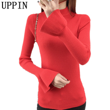 UPPIN 2017 Spring Autumn New Fashion Knitted Sweater Female Solid Color Slim Pullover Thin Speaker Long Sleeves Sweater Ladies