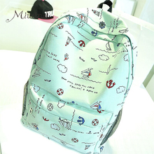 Korean style cute graffiti anime zipper school canvas bags teen girls large backpack notebook travel red mochilas women female