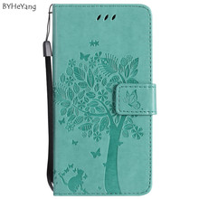 BYHeYang For Fundas huawei p10 lite case Wallet Magnet Flip Cover Leather Case For Huawei Nova P10 Lite case 3D Pattern Tree Cat